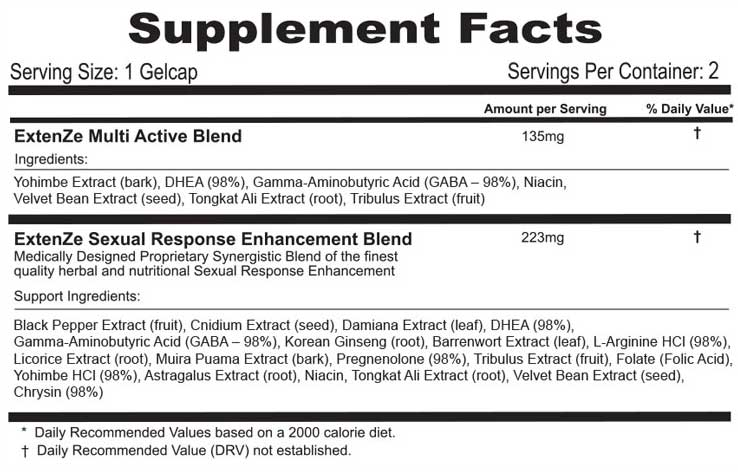 Supplement Facts of Extenze Plus